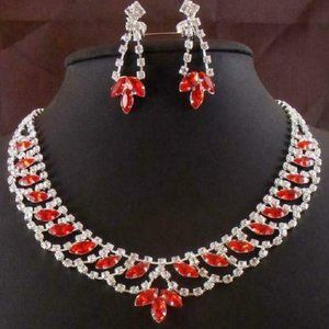 Red Rhinestone Silver Tone Earring - Necklace Set